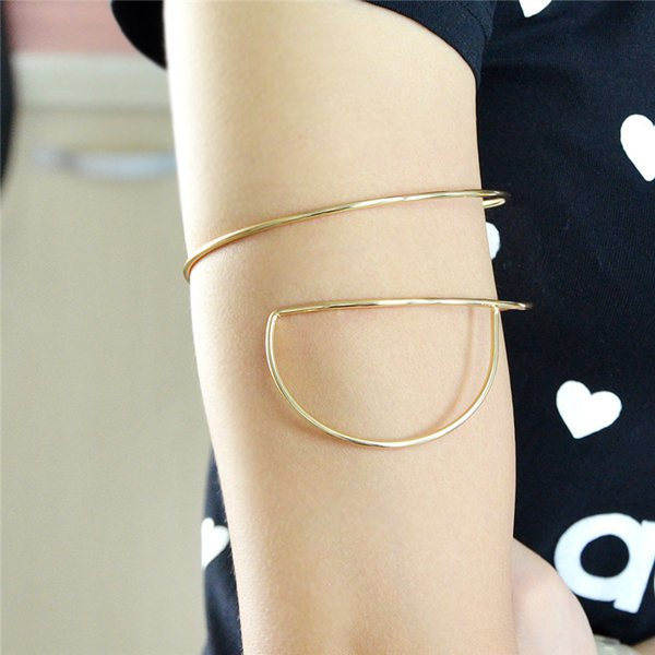 Vintage Half Round Alloy Arm Chain - GOLDEN