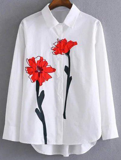Flower Print ShirtWomen<br><br><br>Size: L<br>Color: WHITE