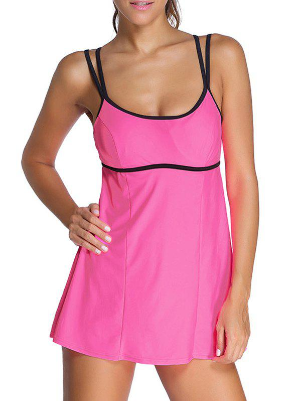 Halter Ruffle Padded Tankini With Underwire - ROSE RED 2XL