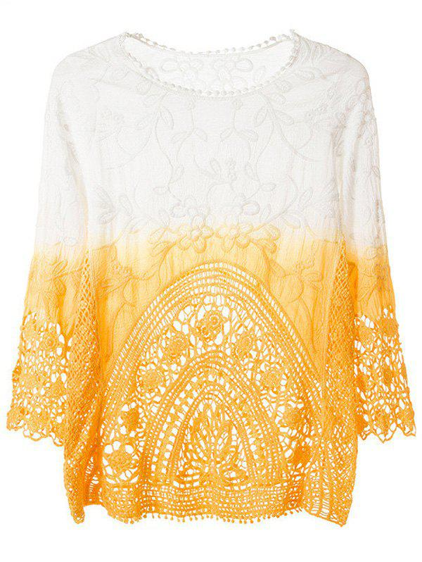 Buy Crochet Trim Tiny Floral Ombre Blouse DEEP YELLOW