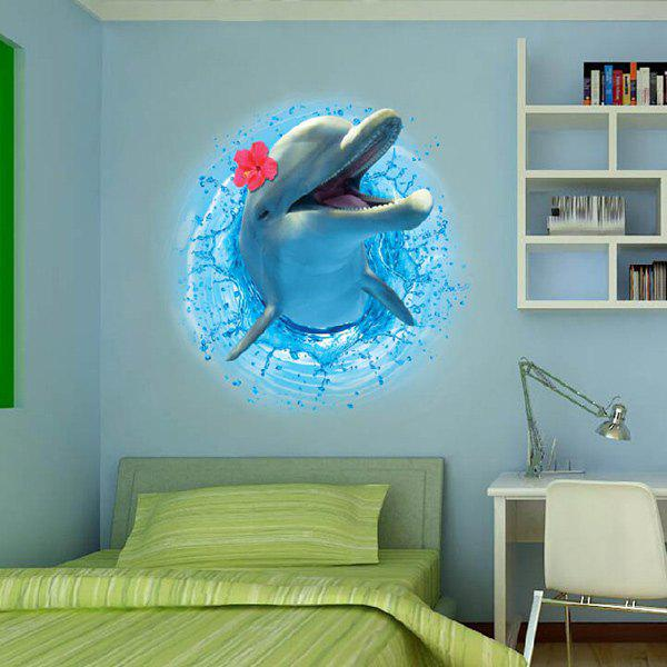 3D Stereo Dolphin Leaping Out The Sea Design Wall Stickers removable 3d stereo dolphin leaping out the sea design wall stickers