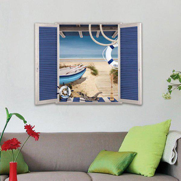 Environmental Protection 3D Stereo Seaside Window Design Wall Stickers - OCEAN BLUE