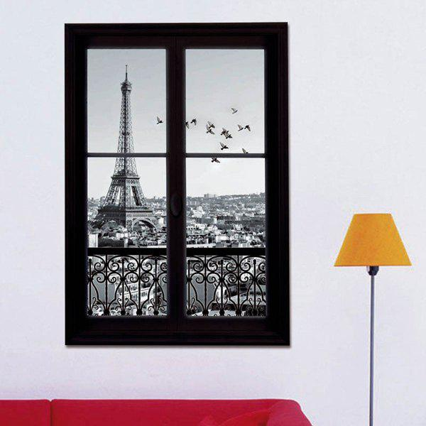 3D Stereo Eiffel Tower Upstair Window Design Wall Stickers - BLACK