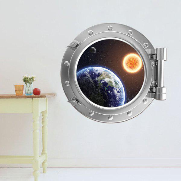 3D Stereo Space Capsule Design Wall Stickers - SILVER
