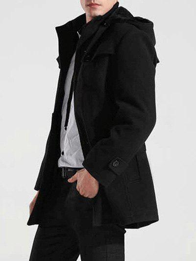 Hooded Button-tab Cuffs Belted Coat button tab cuffs hooded belted coat
