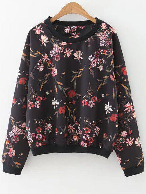 Printed Raglan Sleeve Sweatshirt - BLACK M