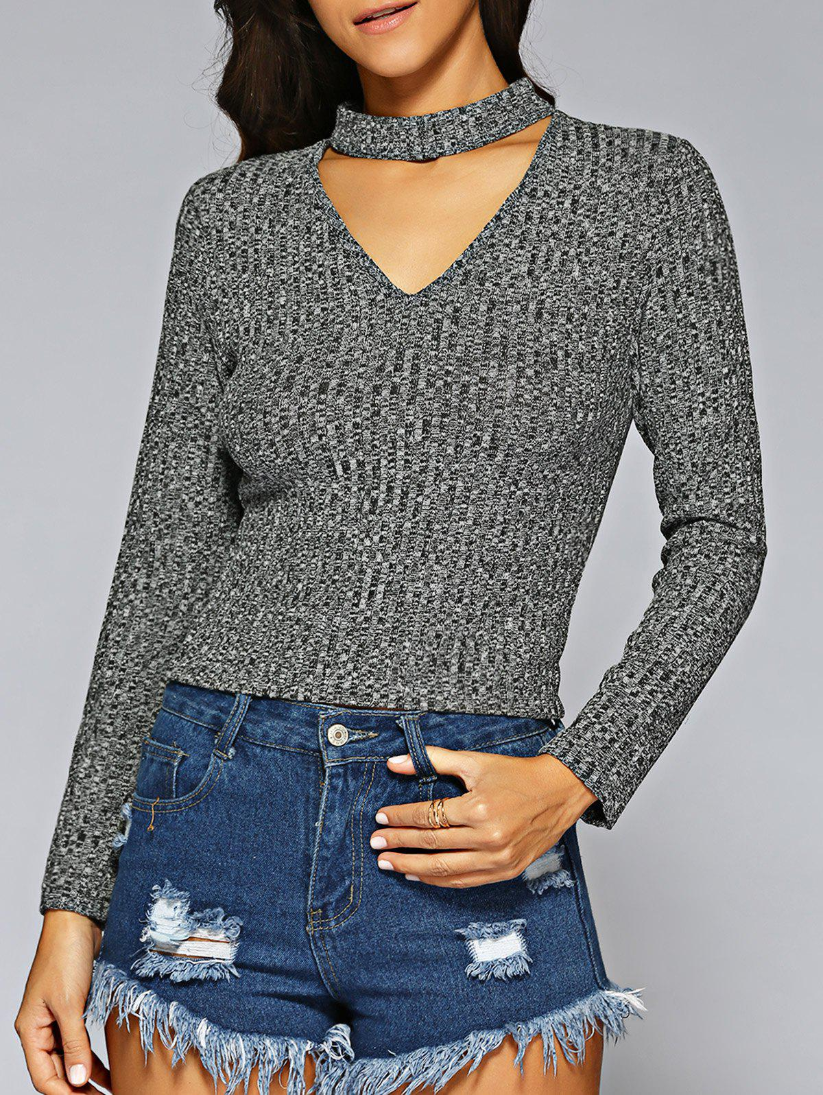Slimming Zip Up Sweater - GRAY L