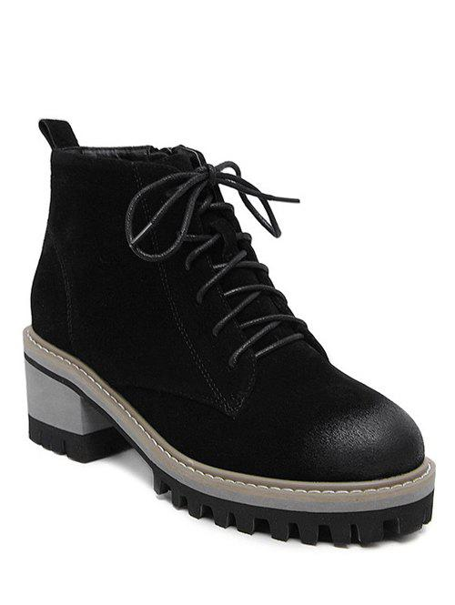 Buy Tie Platform Dark Colour Ankle Boots BLACK