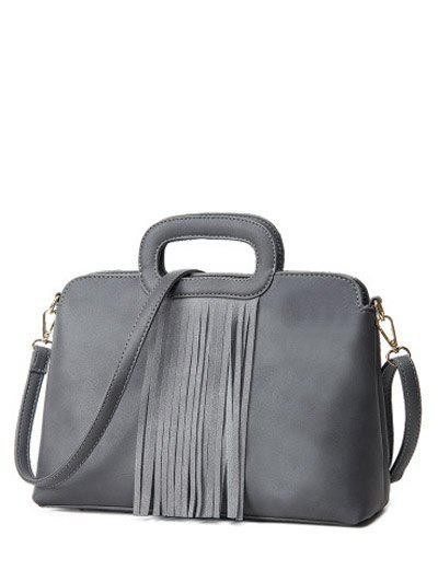 PU Leather Metal Fringe Tote BagBags<br><br><br>Color: GRAY