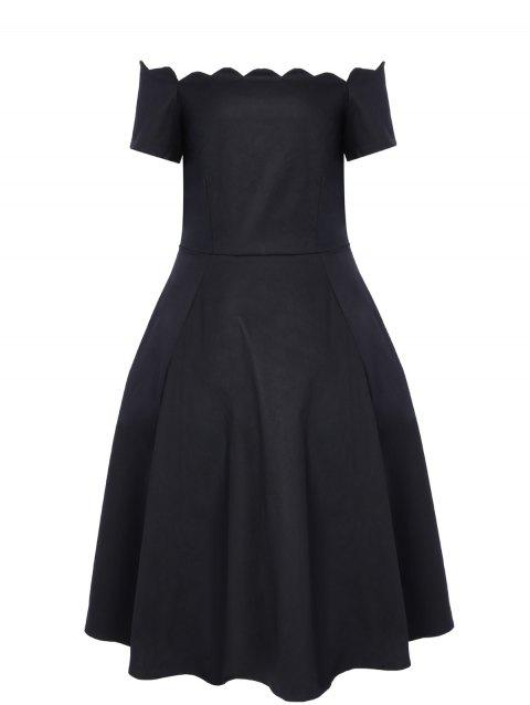 Vintage Boat Neck Ball Gown Dress - BLACK XL