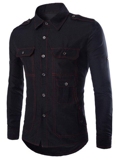 Turn-Down Collar Long Sleeve Multi-Pocket Epaulet Design Shirt - BLACK 2XL