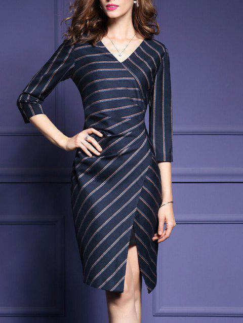 Striped Split 3/4 Sleeve Dress - STRIPE M