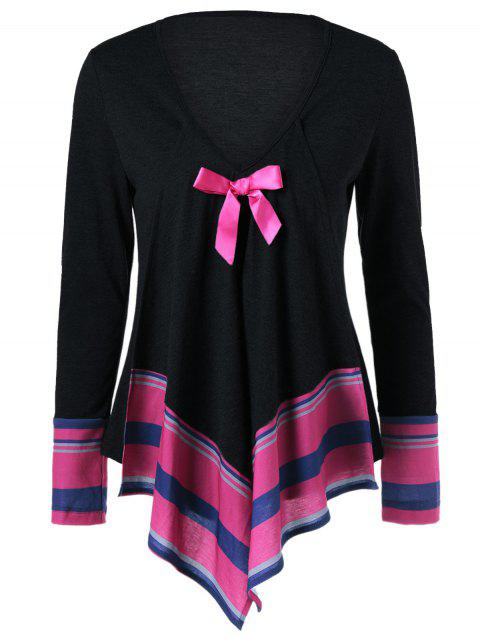 Bowknot Embellished Asymmetrical T-Shirt - BLACK M