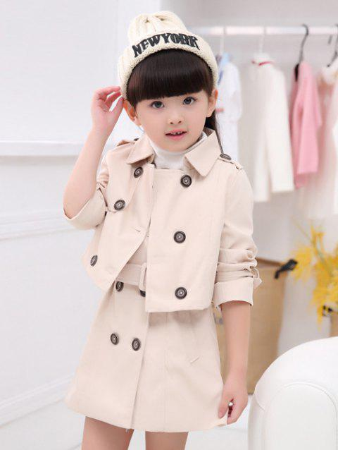 Turn Down Collar Trench Coat court + manches Robe ceinturée - Abricot 90