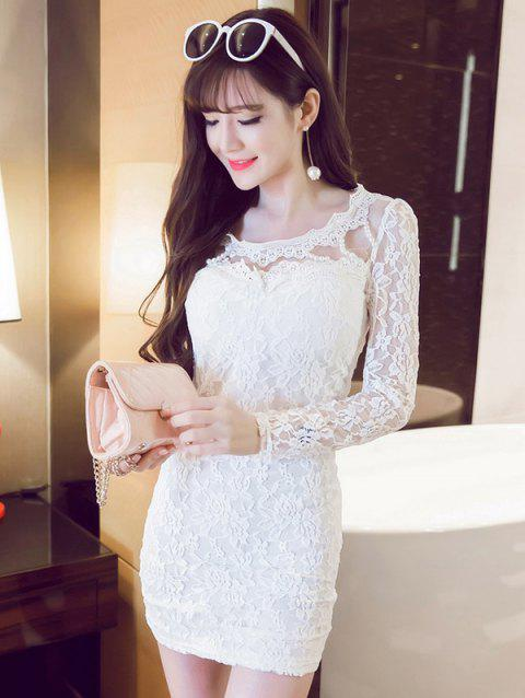 See-Through Beaded Lace Dress - WHITE M