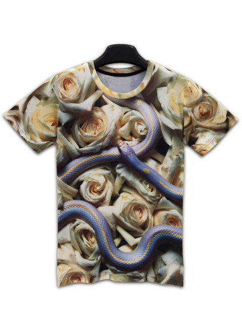 Round Neck Short Sleeve 3D Snake and Flowers Print T-Shirt - COLORMIX M