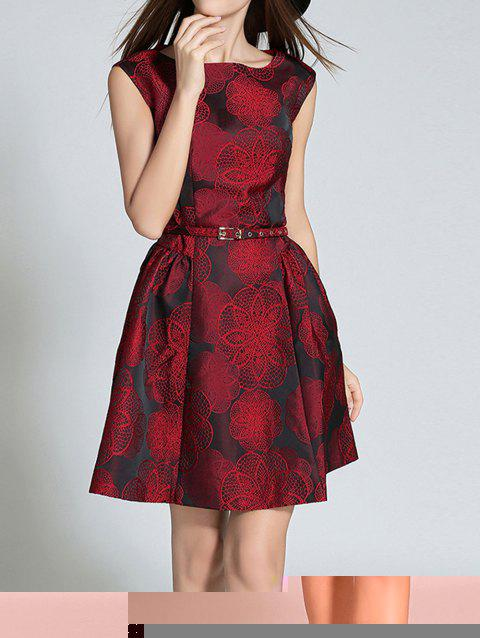 Belted Embroidery Sleeveless Dress - WINE RED M