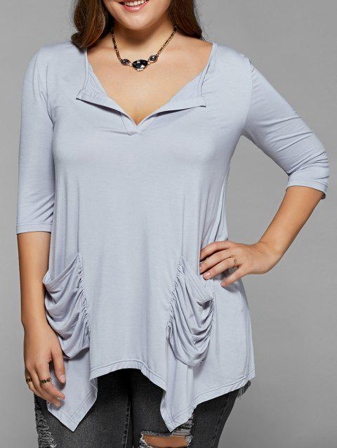 Ruched Pockets Asymmetrical Blouse - LIGHT GRAY 2XL