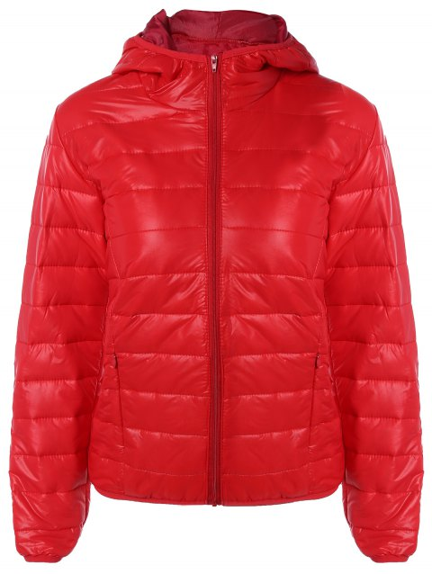 Topstitching Hooded Quilted Winter Jacket - RED S