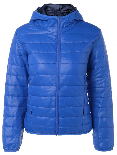 Topstitching Hooded Quilted Winter Jacket - BLUE S