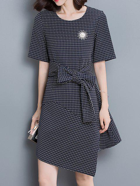 Bowknot Asymmetrical Split Dress - CHECKED L