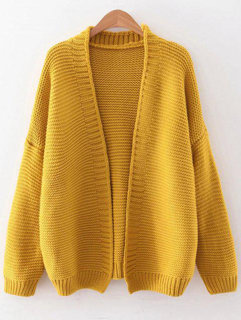 Drop Shoulder Open Front Cardigan - YELLOW ONE SIZE