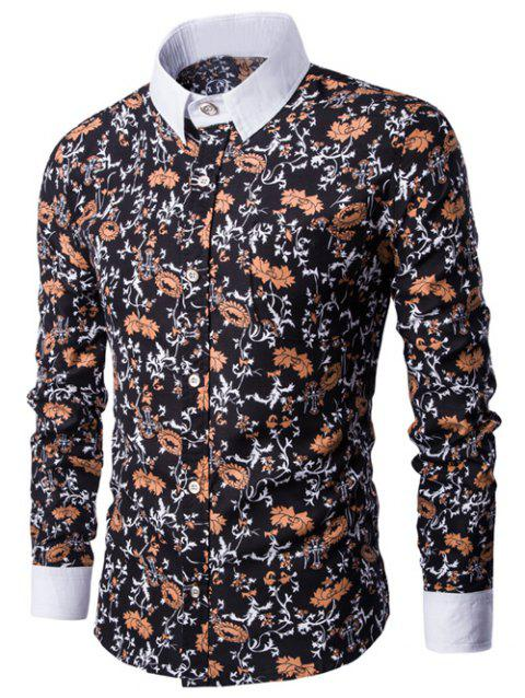 Floral Print Breast Pocket Button Up Shirt - BLACK 3XL