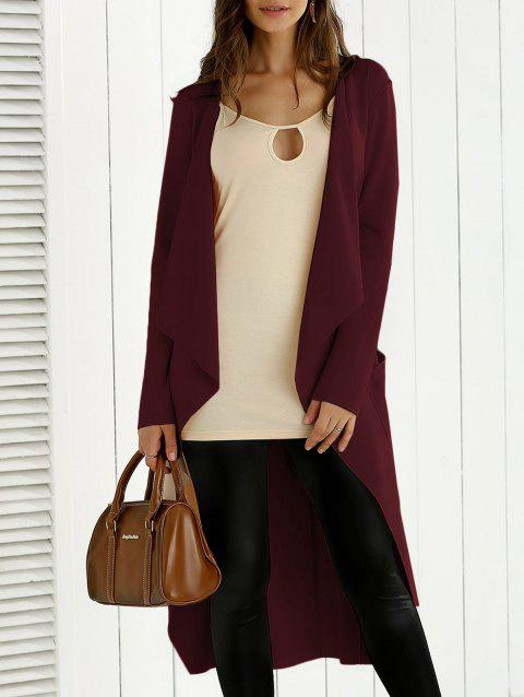 Tie Back Asymmetrical Trench Coat - WINE RED M