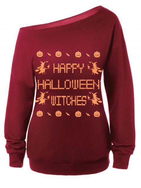 Skew Neck Witches Print Halloween Sweatshirt - RED M