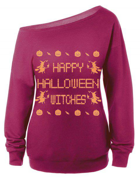 Skew Neck Witches Print Halloween Sweatshirt - PURPLISH RED M