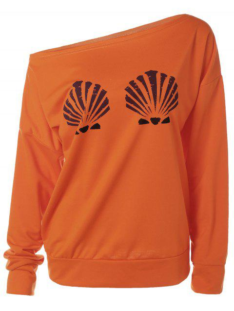 Loose-Fitting Shell Print Sweatshirt - ORANGE S
