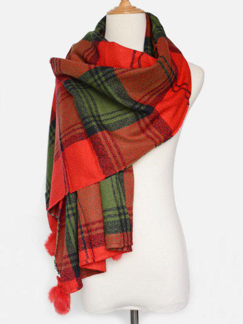 Warm Tartan Pattern Pompon Pendant Blanket Shawl Scarf - RED