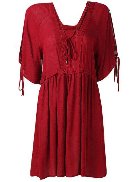 Hollow Out High Waist Tied-Up Chiffon Dress - WINE RED XS