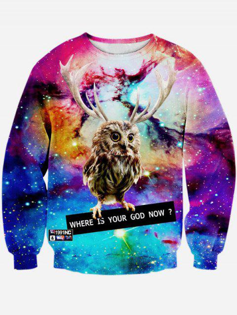 Long Sleeve 3D Print Round Neck Galaxy Sweatshirt - COLORMIX M