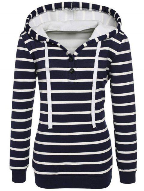 Long Sleeves Striped Buttoned Hoodie - BLACK M