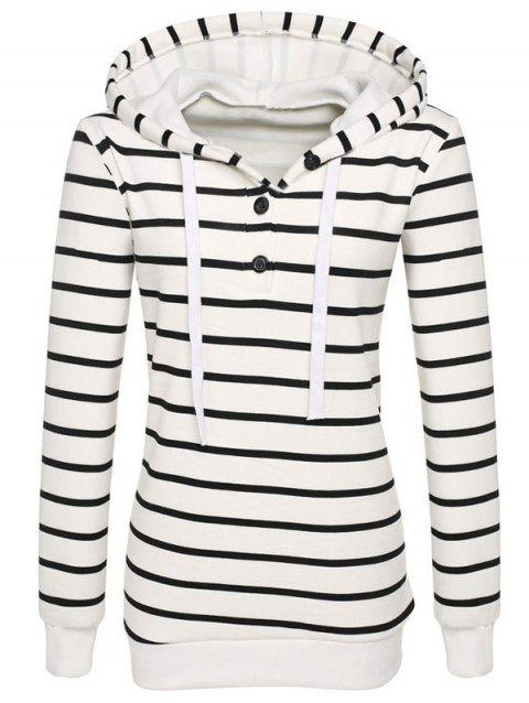 Long Sleeves Striped Buttoned Hoodie - WHITE L
