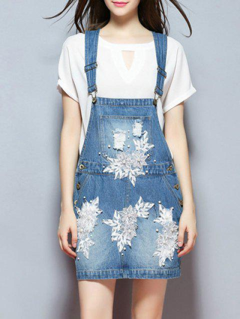 Applique Frayed Denim Overall Dress - BLUE M