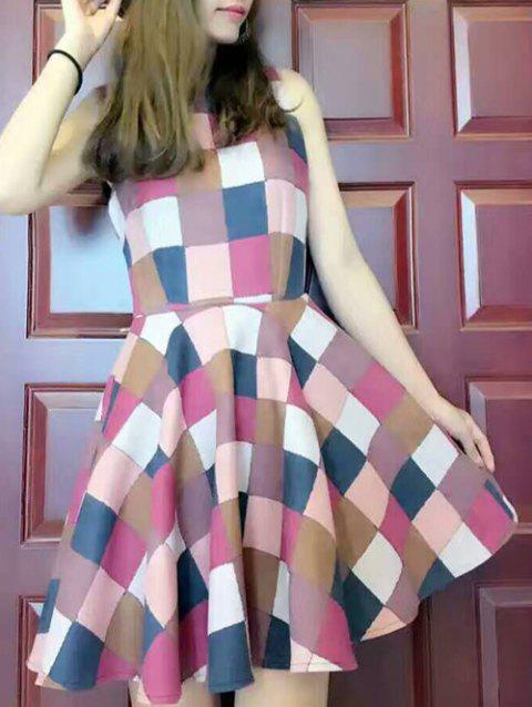 Colorful Plaid Dress - RED M