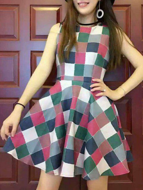 Colorful Plaid Dress - GREEN M