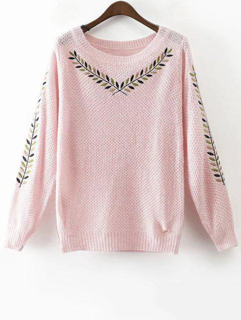 Round Neck Embroidered Sweater - PINK S