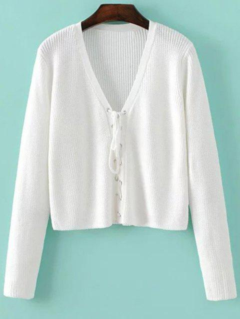 Cropped Lace Up Sweater - WHITE ONE SIZE