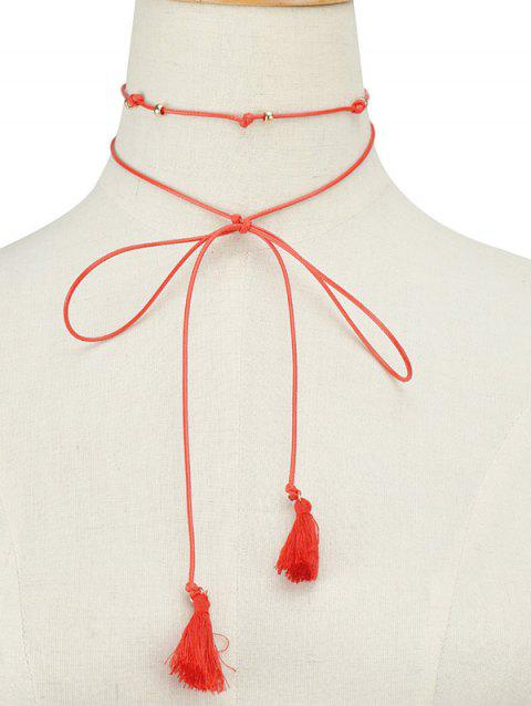 Faux Leather Rope Bowknot Tassel Choker - RED
