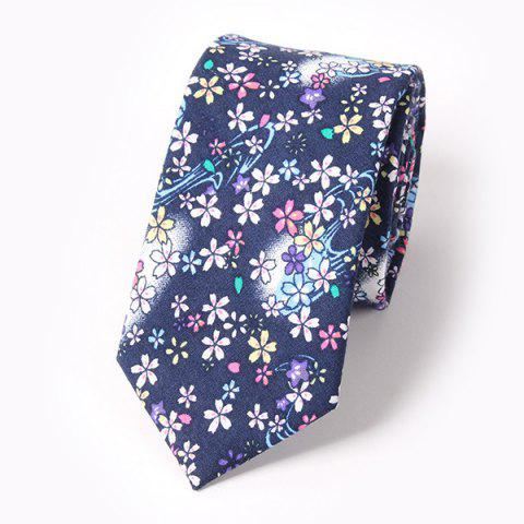 Casual Flower and Jellyfish Pattern 6CM Width Tie - DEEP BLUE