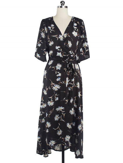 Floral Chiffon Surplice Maxi Summer Dress - BLACK S