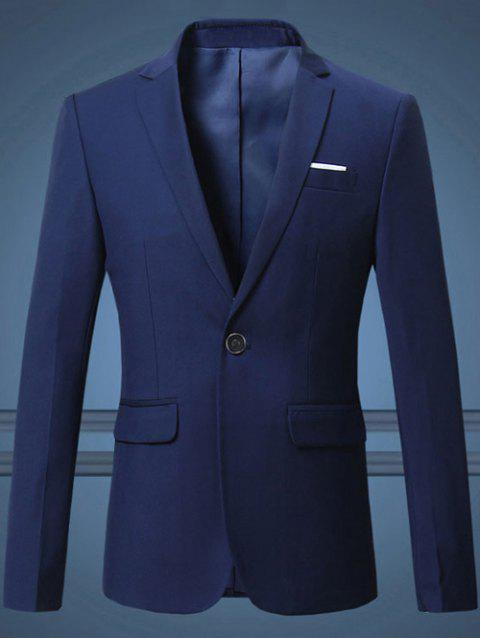 Notch Lapel Breast Pocket One-Button Blazer - SAPPHIRE BLUE L