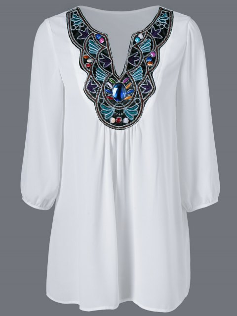 Embroidered Maxican Peasant Chiffon Blouse - WHITE M