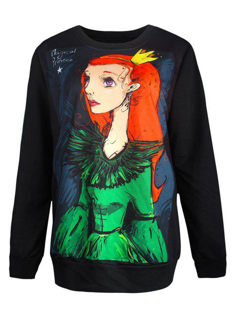 Pullover Cartoon Girl 3D Print Sweatshirt - BLACK L