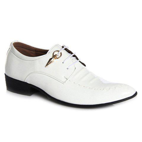 Lace Up Metal Patent Leather Formal Shoes - WHITE 42