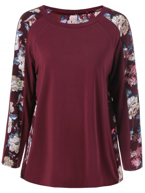 Raglan Sleeve Floral T-Shirt - WINE RED XL