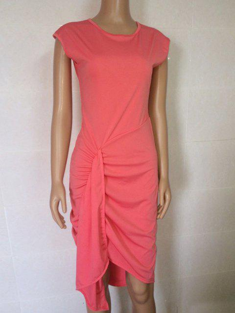 Casual High Low Ruched Dress - PINK M